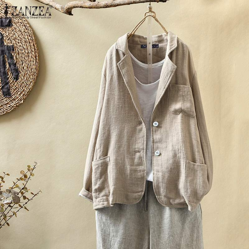 ZANZEA Women Casual Baggy Blazers 2020 Autumn Long Sleeve Coat Jackets Vintage Solid Pockets Cotton Linen Suit Blazer Outwear