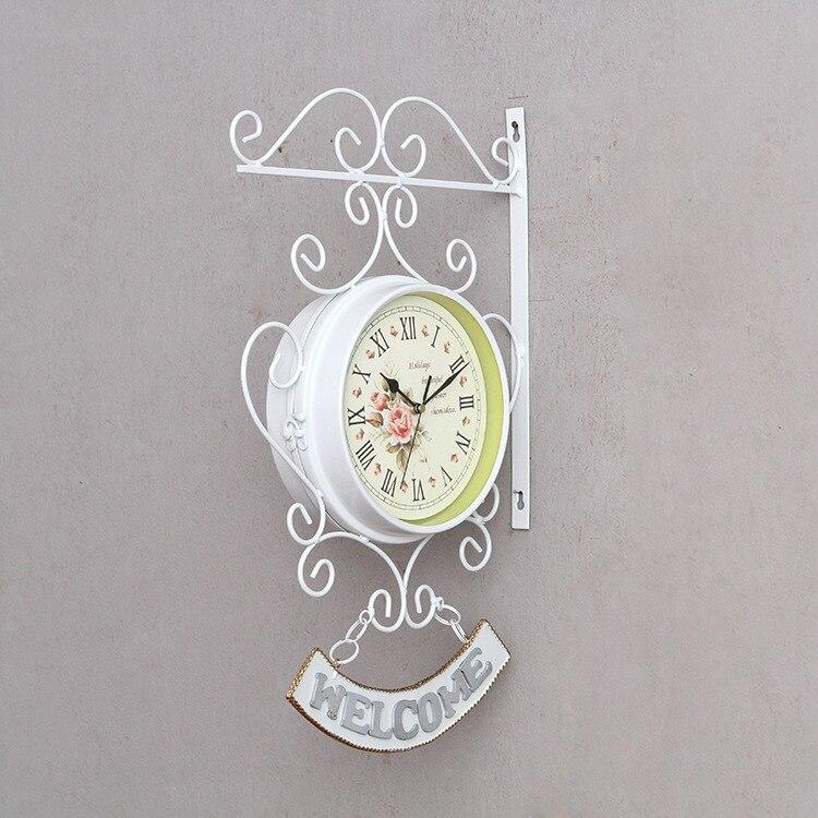 Fan Mu Lin European Countryside Rome Double-sided Wall Clock Creative Fashion Mute Living Room Wall Clock Welcome Clock White
