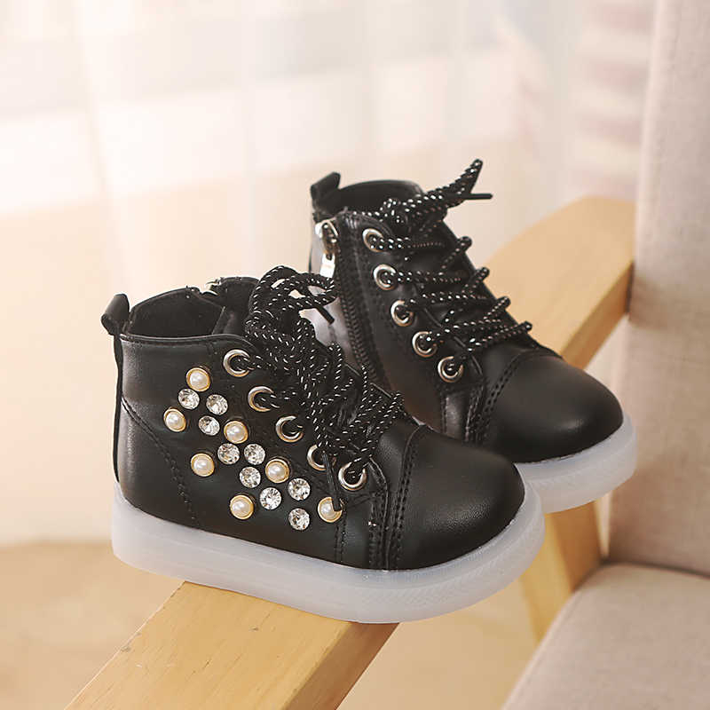 Autumn Winter Girls Boys Casual Children Shoes LED Light Lamp Rhinestone Pearl High Shoes Casual Baby Girls' Shoes