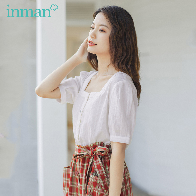 INMAN 2020 Summer New Arrival French Style Cotton Fiber Square Collar Stripe Flower Half Sleeve Blouse