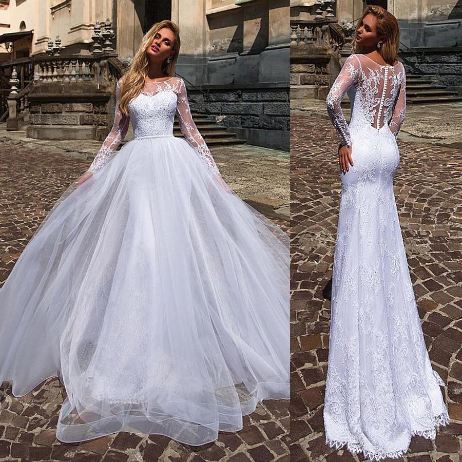 Menawan Dua Buah 2 In 1 Pernikahan Gaun Dengan Renda Appliques Mermaid Bridal Gaun Dengan Dilepas Rok Vestido De Noiva Wedding Dresses Aliexpress