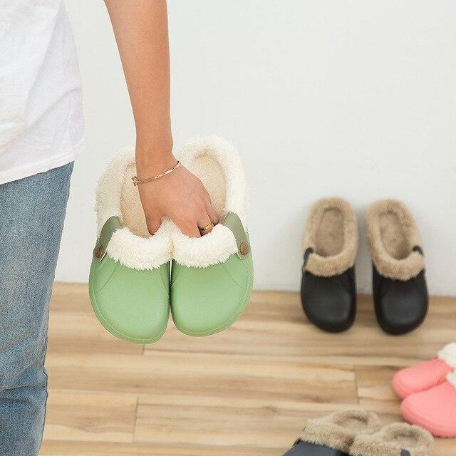Winter Warm Slippers Men Indoor Shoes Cotton Pantoffels Casual Crocus Clogs With Fur Fleece Lining House Floor Slippers ME526 2