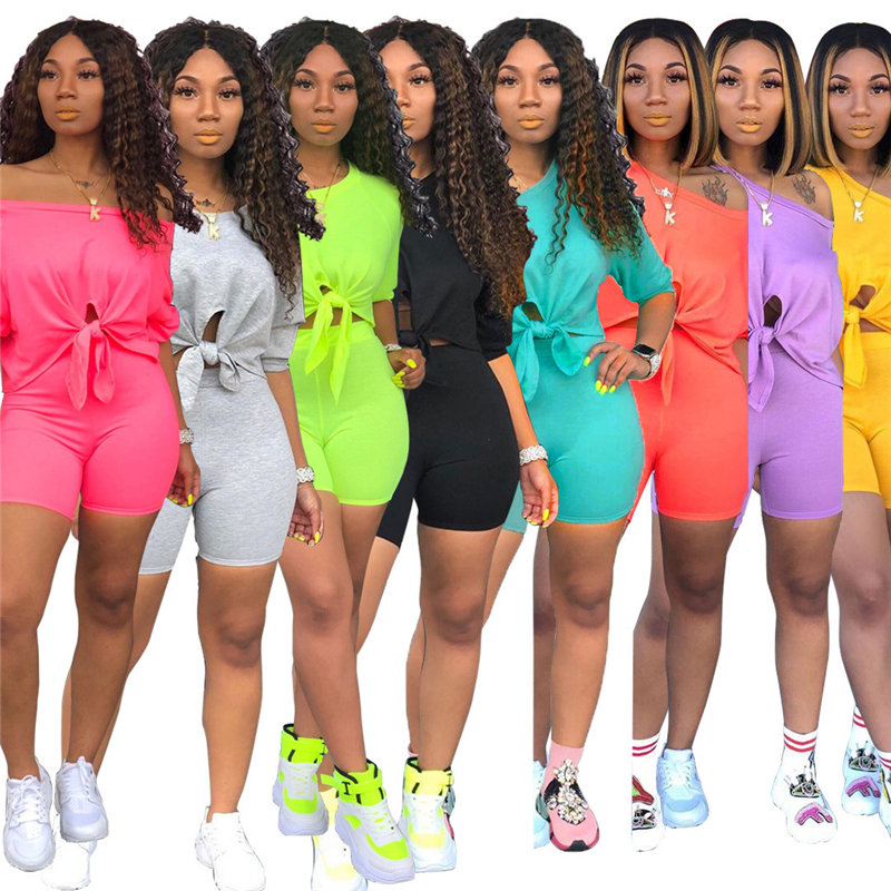 Solid Color Summer Clothes Two Piece Set Women Sexy 3/4 Sleeve Front Tie Up Hem Crop Top And Shorts Sport Suit Tracksuit Outfits