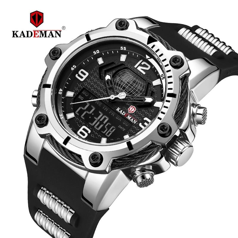 KADEMAN Men Watch Waterproof Military Sports Dual Display Digital Watches New Male Quartz Rubber Wristwatch Relogio Masculino|Quartz Watches| |  - title=