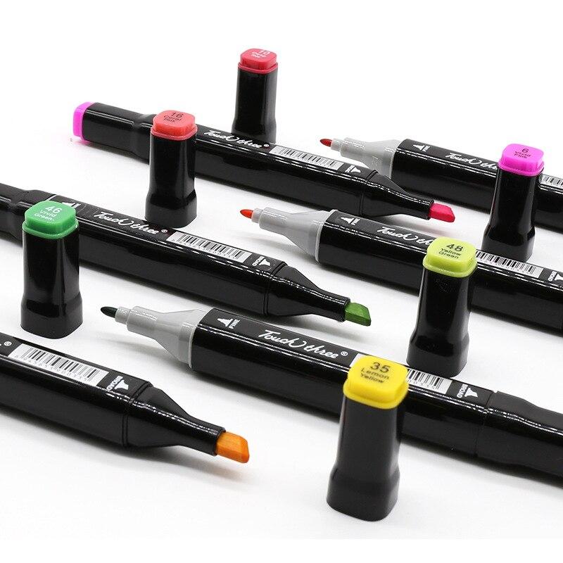 Touchthree اختياري اللون أقلام تلوين أساس الكحول المزدوج رئيس رسم ماركر فرشاة القلم للفنان الرسم اللوازم المدرسية الفن