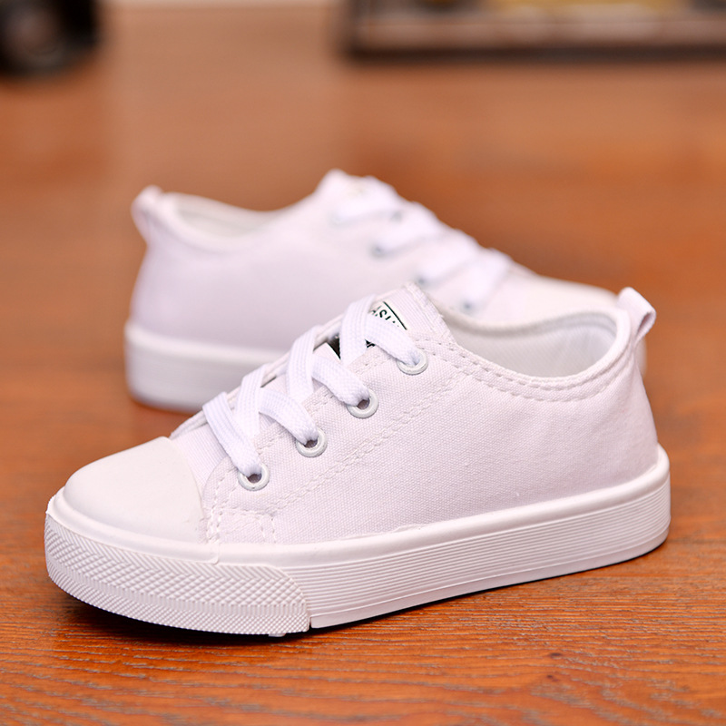 Kids Canvas Shoes Lace Up Boys Girls Fashion Sneakers 2020 New Spring Autumn Children Casual Low Top Trainer Shoes Espadrilles