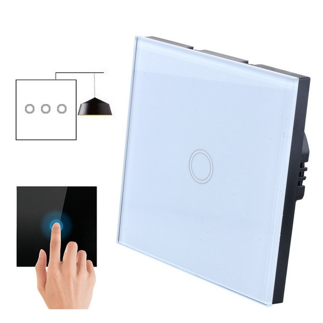 Hoomall EU Stanard Touch Switch White Crystal Glass Panel 1 Gang 1 Way Touch Switch, EU Light Wall Touch Screen Switch AC 220V