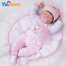55cm Sleeping Reborn Baby Dolls Girl Silicone Vinyl Pink Outfit with Lovely Hat