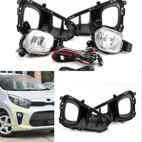 JanDeNing Front Bumper fog Light Lamp Set with Wiring & Switch for Kia Picanto 2017 2019