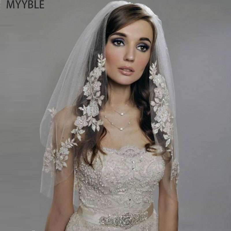 MYYBLE 2020 Short Wedding Veils With Lace  Cheap Imported Silver Thread Flower Bridal Veil 2 Tier With Comb Wedding Accessories
