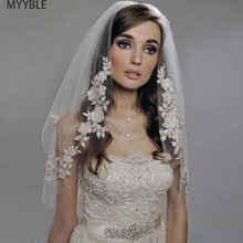 MYYBLE 2020 Short Wedding Veils with Lace  Cheap Imported Silver Thread Flower Bridal Veil 2 Tier Comb Accessories