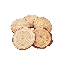 100 pces 5 6cm de madeira natural fatias redondas lajes rústicas para a peça central do casamento mesa festa de aniversário decoração do chuveiro de bebê artesanato