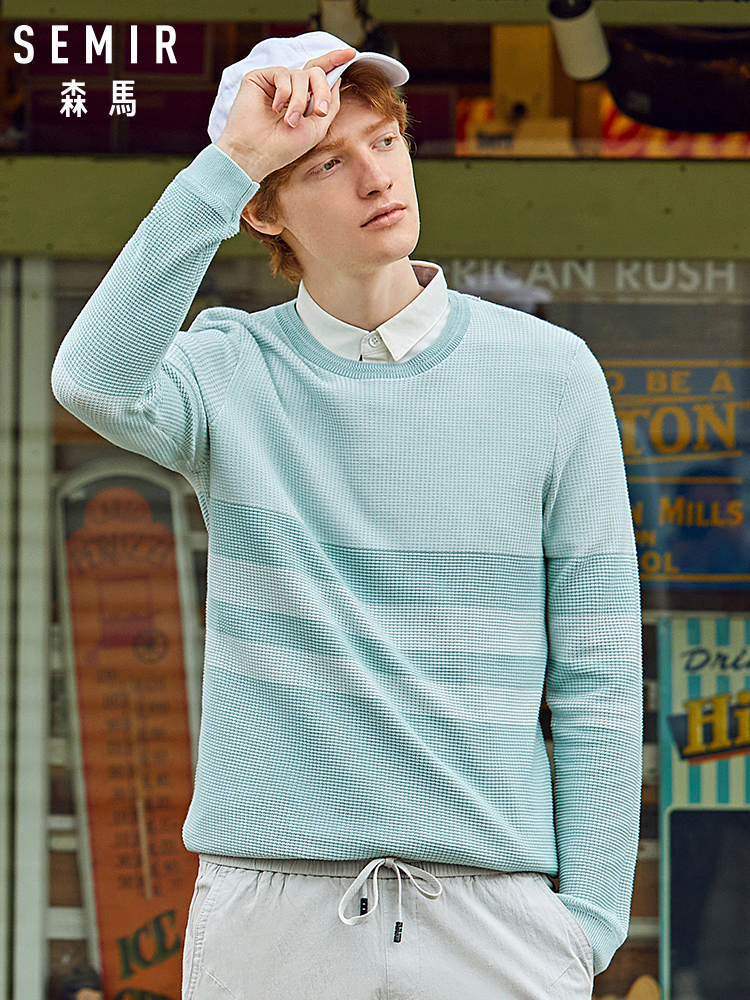 SEMIR Fake Two Sweater Men 2020 Spring New Shirt-collar Trend Knitted Pullover Thick Slim Sweater For Man