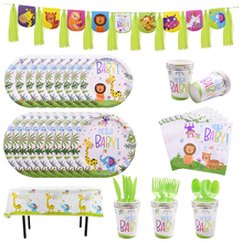 Jungle Birthday Party Disposable Tableware Cartoon Animal Plates Cups Napkins Banner for Baby Shower Kids Birthday Supplies pink unicorn disposable tableware plates napkins cups banner birthday party baby shower wedding events decor supplies