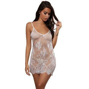 Sexy Ladies Lace Floral See-Through Pajamas Babydoll Lingerie Nightdress Sexy Lingerie Dress Langerie Sex Clothes asymmetric see through babydoll