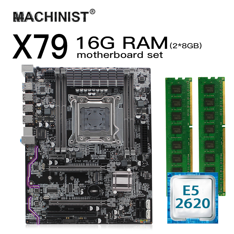 X79 LGA 2011 Motherboard Set Kit Atx With Intel Xeon E5 2620 CPU 16G(2*8G) 1600mhz REG ECC RAM M.2 NVME SSD