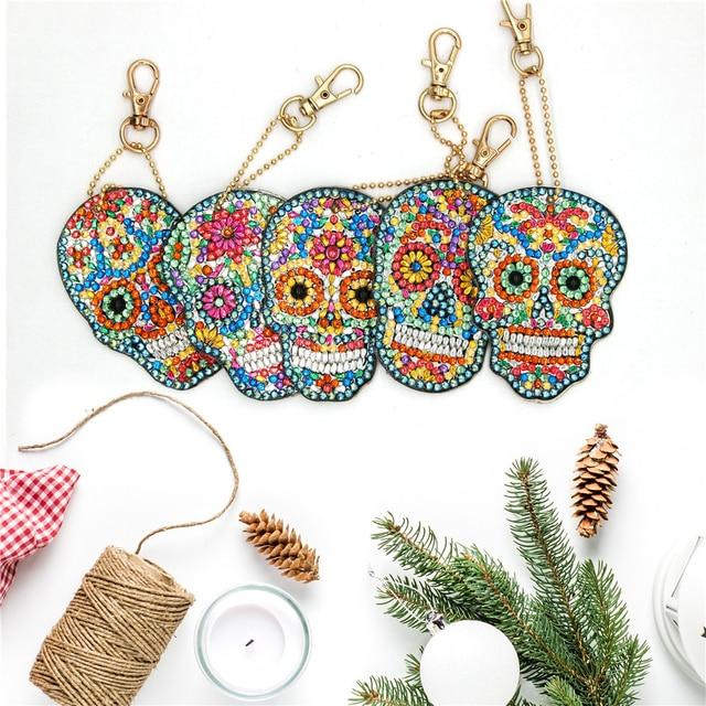 HUACAN Diamond Embroidery Keychain Diamond Painting Cross Stitch Bag Keyring Diamond Painting Accessories Craft Kit