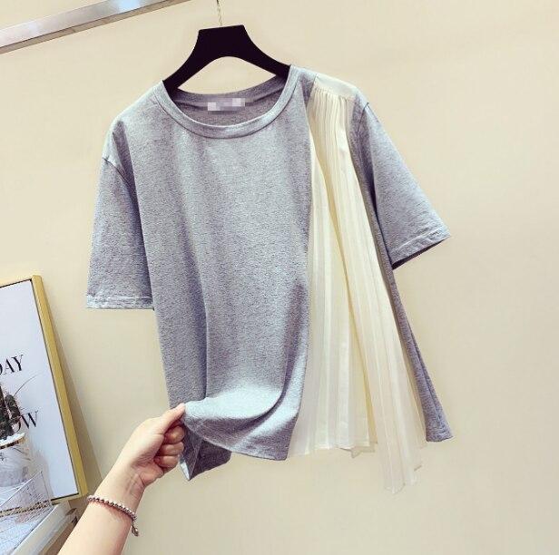 Women T-shirt Woman Tshirt Summer New Fashion Pleats Pleated Stitching Short Sleeve Tshirt Female Ladies Loose T-shirts Tee