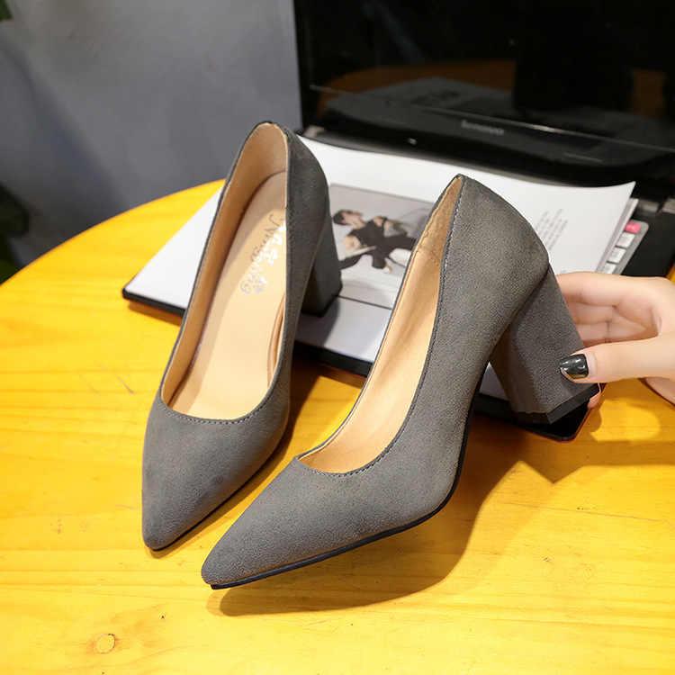 2019 kadın Yüksek Topuklu Seksi Gelin Parti orta Topuk Sivri Burun Sığ ağız Yüksek Topuk Ayakkabı Kadın ayakkabı büyük boyutu 35-46