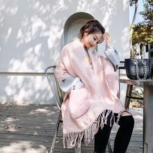 Korean winter ladies scarves with Imitation fur pocket scarf for women fashion thick Warm Large shawl cloak neck