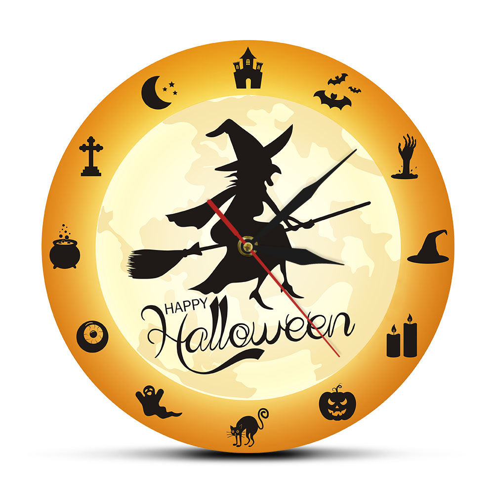 Halloween Witch Flying Crossed The Moon Decorative Wall Clock Vintage Flying Witch Wall Clock With Horror Halloween Silhouette