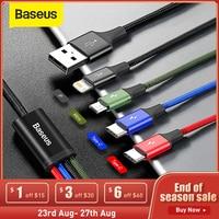 Baseus-Cable Micro USB 3 en 1 para móvil, Cable de carga 4 en 1 para iPhone 11 Pro, XR, XS, Max 7, Samsung S20, Xiaomi