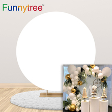 Funnytree Round Background Circle Backdrop Covers White Pink Blue Solid Color Party Birthday Baby Shower Elastic Band Decoration