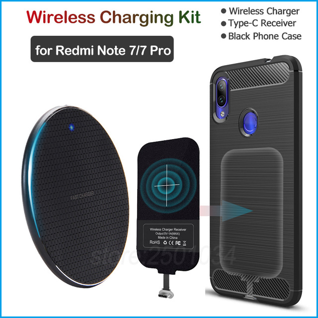 Install USB Type C Receiver Realize Wireless Charging for Xiaomi Redmi Note 7/Note 7 Pro Qi Wireless Charger + Adapter Gift Case
