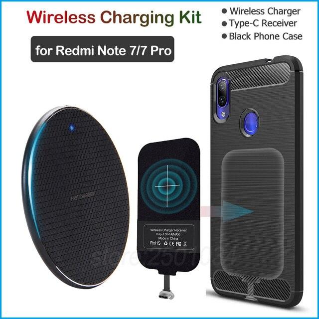 インストールusbタイプc受信機実現充電xiaomi redmi注7/注7プロチーワイヤレス充電器 + アダプタギフトケース