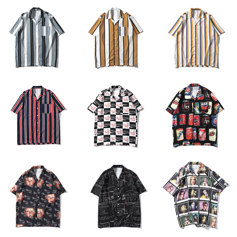 Ymwmhu European Size Shirt Men Short Sleeve Fashion Summer Clothes Loose Fit Male Hip Hop Shirt Stripe Pocket Tops Shirt