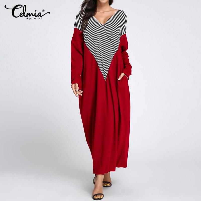 Celmia 2019 Autumn Womens Dress Vintage Long Maxi Dress Ladies V Neck Long Sleeve Striped Patchwork Casual Vestidos Plus Size