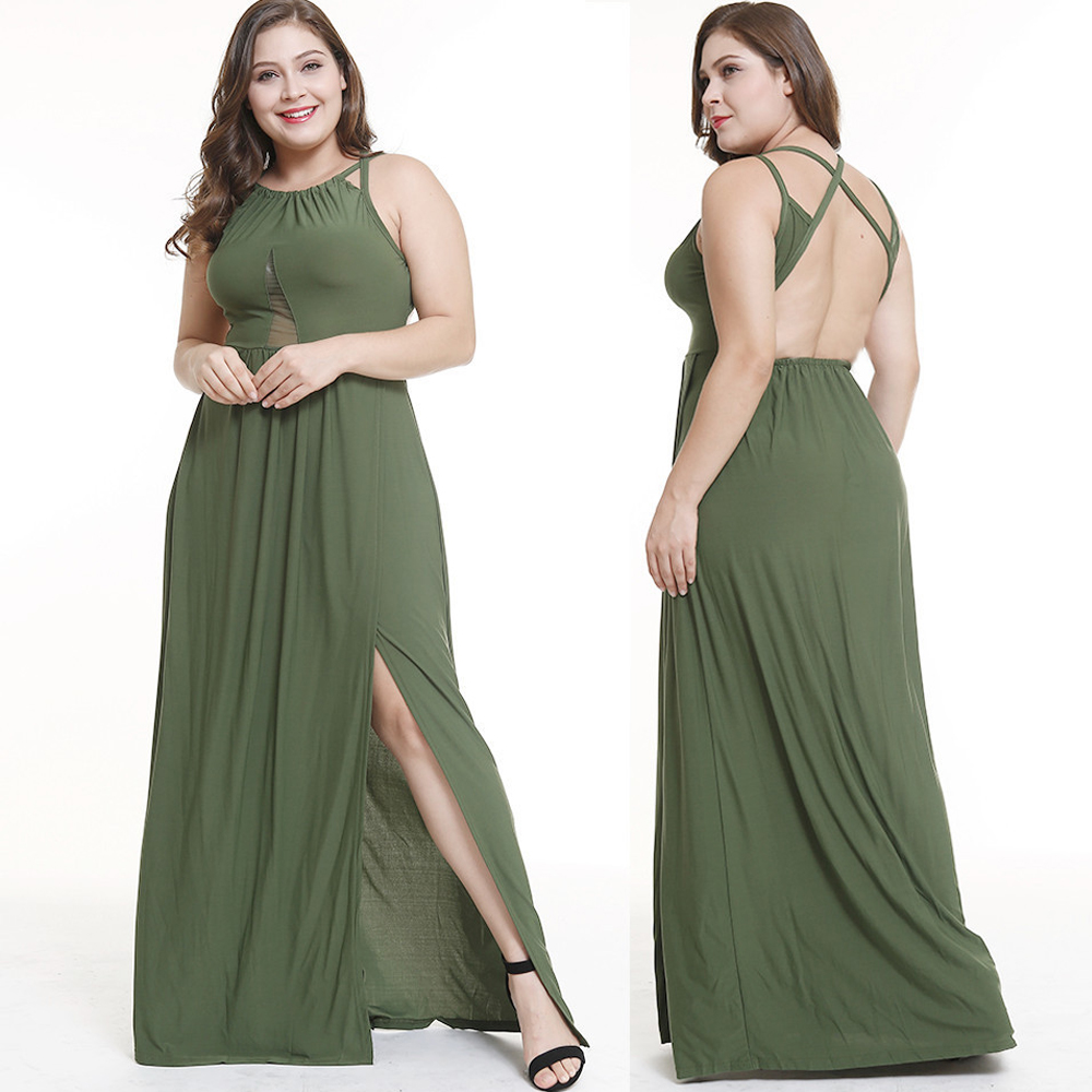 Plus Size 3xl <font><b>4xl</b></font> <font><b>Sexy</b></font> Halter Long Loose Party <font><b>Dress</b></font> Summer Sleeveless Split Maxi Women <font><b>Dress</b></font> Solid Color Backless <font><b>Club</b></font> <font><b>Dress</b></font> image
