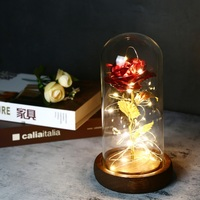 New 24K Gold Foil Artificial Rose Flower And LED Light String In Glass Forever Rose Dome On Wooden Base Valentine's Day gift Artificial & Dried Flowers    -