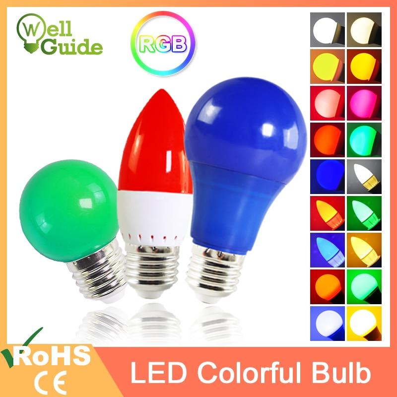 Led Bulb E27 E14 3W 5W 7W RGB Led candle Light LED Lamp A60 A50 G45 C35 Colorful SMD 2835 AC 220V 240V Flashlight Globe Bulb