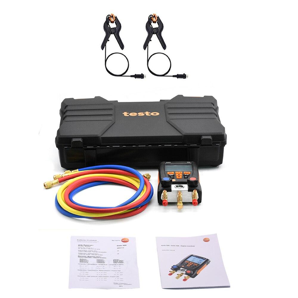 Gauge Refrigeration Testo 550 Digital Manifold Electic  With 2pcs Clamp Probes 0563 1550 Manometro Digital Refrigerant Meter Set