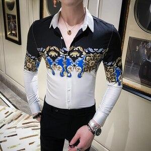 Image 2 - Digital Printed Casual Shirt Men Long Sleeve New 2020 Korean Dress Slim Fit Tuxedo Shirts Male Fashion Night Club Work Shirt Men