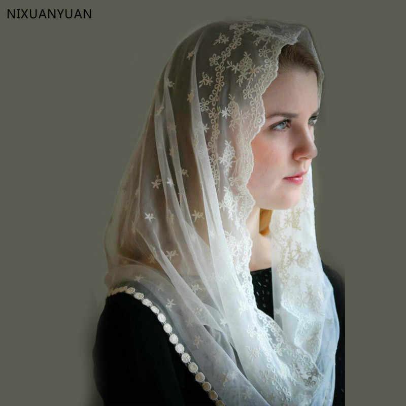 Chapel mantilla Lace scarf Ivory lace veil Ivory mantilla veil Catholic accessories Veil for Mass Bridal scarf Catholic Head Covering