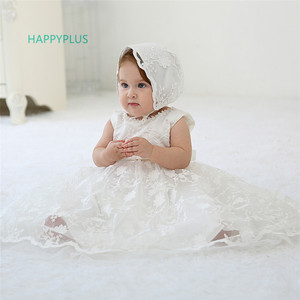 Image 2 - HAPPYPLUS Maxi Vintage Christening Dress for Baby Girl Lace Baby Half Birthday Girl 2 Years Baptismal Set Infant Dress Gowns