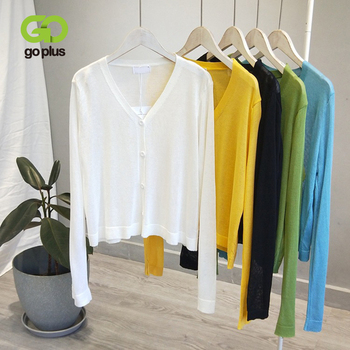GOPLUS Women's Sweaters Korean Style Solid White V-neck Long Sleeve Knitted Sweaters Womans Clothes Ropa Mujer white v neck cold shoulder long sleeves sweaters