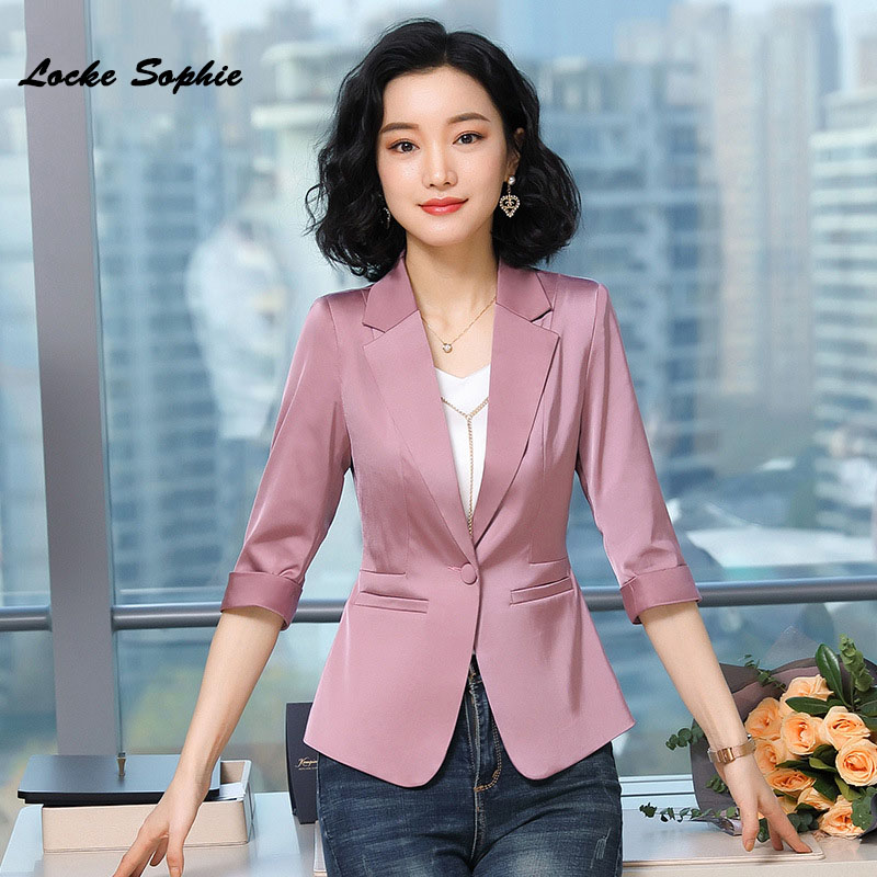 1pcs Women's Plus Size Blazers Coats 2020 Summer Fashion Cotton Blend Smooth Small Suits Jackets Ladies Skinny Blazers Suits