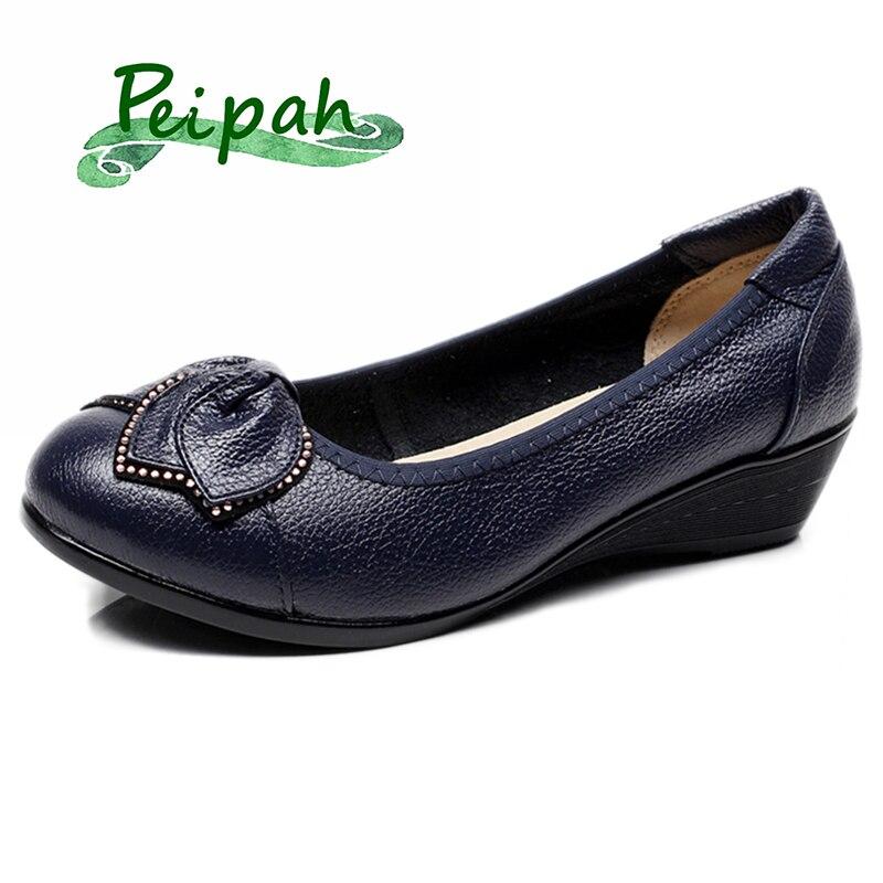 Peipah primavera sapatos de salto alto femininos couro genuíno clássico bombas femininas sólidos cunhas casuais sapatos de plataforma