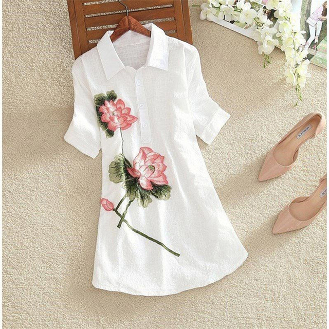 Women Spring Summer Style Embroidery Blouses Shirts Lady Casual Short Sleeve Turn-down Collar blusas Tops ZZ0556 2