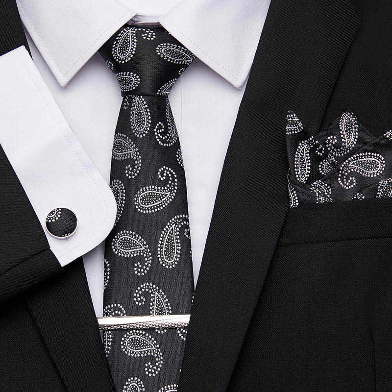 New Classic Mens Ties Cravatta Stampa Floreale 100% Seta Jacquard Tessuti, per Hanky Cravatta Clip di Cuffink Set Cravatta Formale Regalo di Nozze box