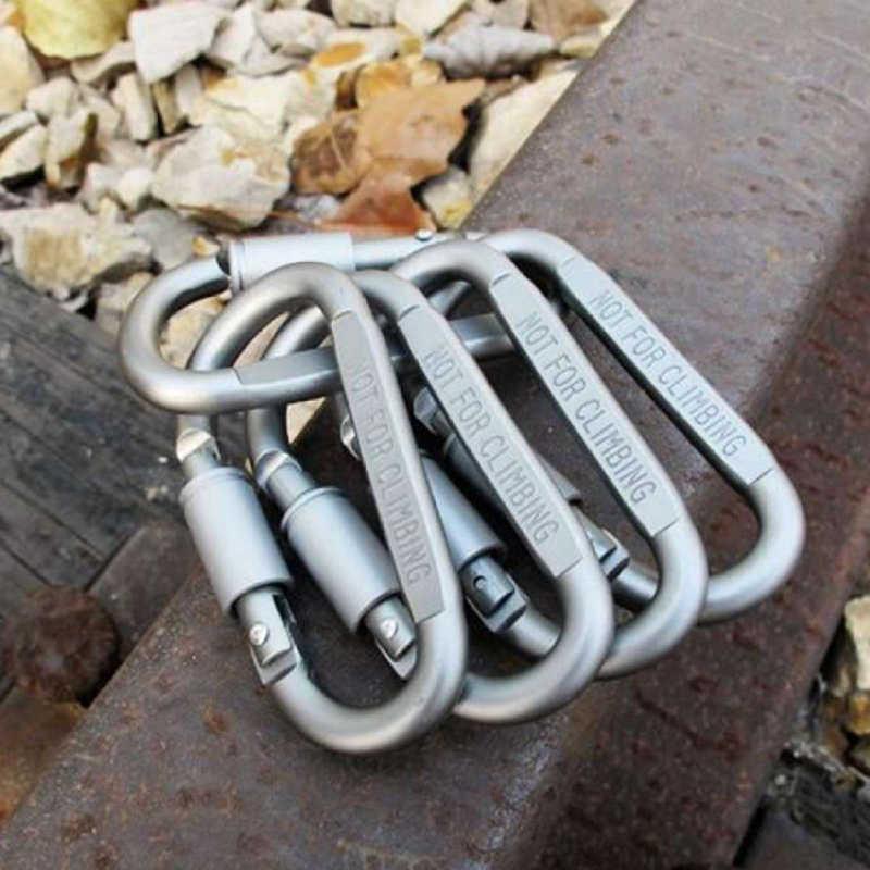 Quickdraw Ngoài Trời Khóa tồn tại Móc khóa Móc Leo Nhôm vít Khóa Khóa Treo Kẹp Carabiner Trại 2 Chiếc D vòng khóa dây chuyền