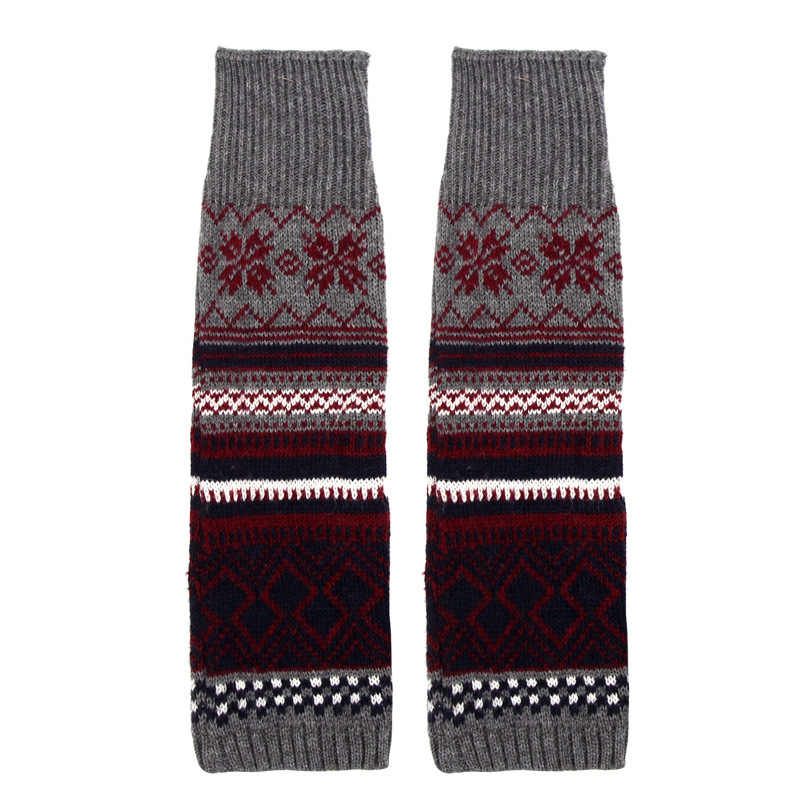 Hot Kerst Herten Patchwork vrouwen Winter Warm Gebreide Beenwarmers Lange Boot Sokken Over Knie Haak Kleurrijke Wol Been warmers