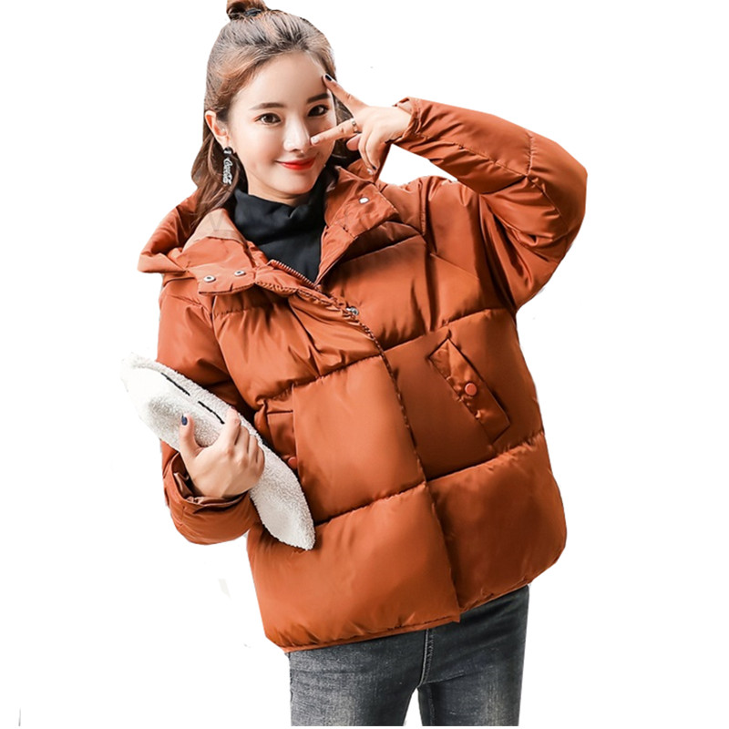 2019 Winter Jacket Women Hooded Plus Size Womens   Parkas   Thicken Outerwear Short Warm Coats Loose Female Cotton padded basic tops
