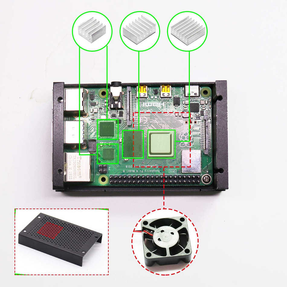 Raspberry Pi 4 Aluminium Fall, Pi4 Fall mit Fan und 4 stücke Wärme-Waschbecken, raspberry Pi 4B Fall mit Fan