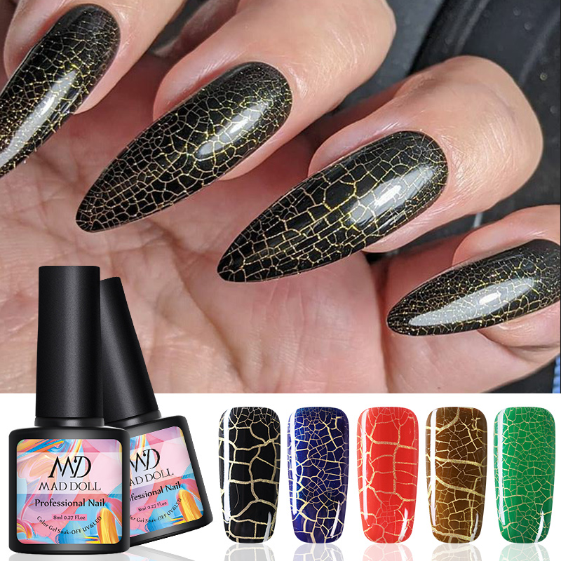 MAD DOLL 1 Bottle Crackle UV Gel Polish Soak Off Nail Art UV LED Gel Colors  Nail Art Gel Varnish Cracking Gel Varnish