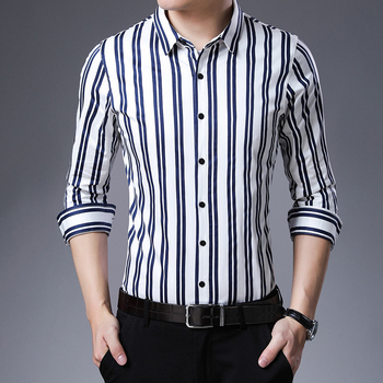 High Quality Male Office Striped Shirt Long Sleeve Elegant Mens Business Casual Pure Cotton Dress Shirt Free Shipping