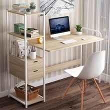 Grande mesa de madeira do computador portátil mesa de escritório mesa de estudo com prateleiras gavetas móveis de escritório computador portátil estação de trabalho casa
